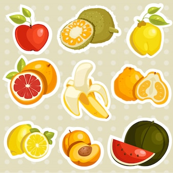 Cartoon fruits stickers