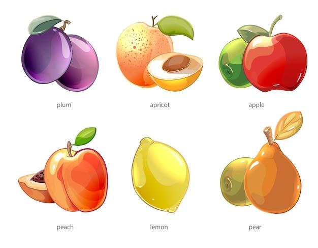 Установить мультфильм фрукты векторные иконки. иллюстрация яблока и лимона, персика и груши, абрикоса и сливы