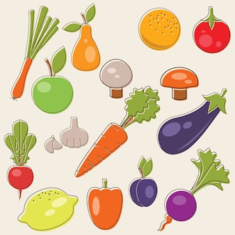 Cartoon fruits vector set