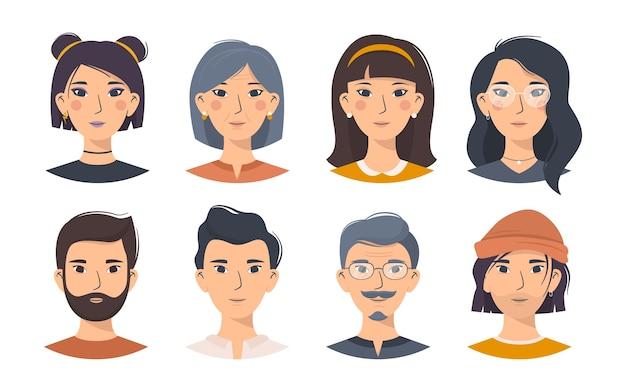 다른 외모의 아시아 문자, 남성 및 여성의 만화 fset.
