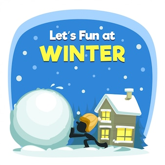 Cartoon fun winter illustration with snow ball kid