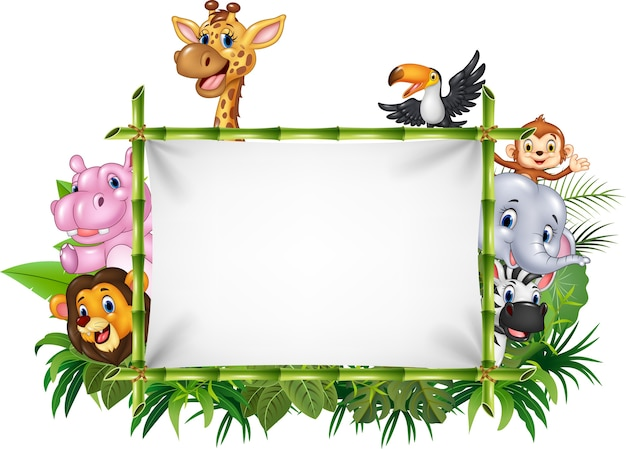 Cartoon funny african animals with blank sign