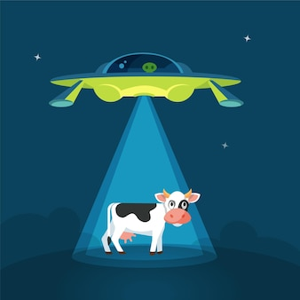 Cartoon funny aliens spaceship abducts the cow