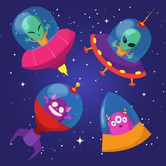 Cartoon funny aliens with ufo in duck starry sky set