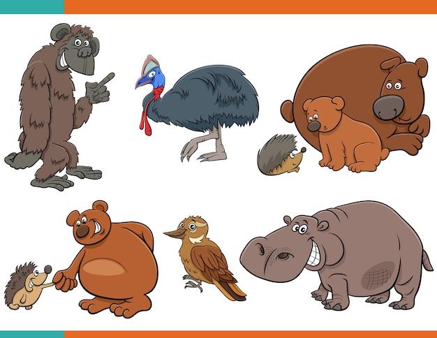 만화 재미 있은 동물 캐릭터 세트 프리미엄 벡터