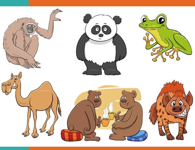 만화 재미 있은 동물 만화 캐릭터 세트