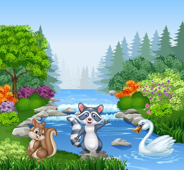 Cartoon funny animals in beautiful river in forest
