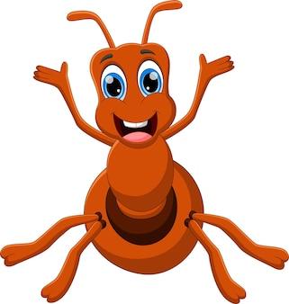 흰색 배경에 흔들며 만화 재미 개미
