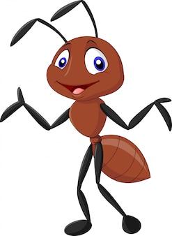 Cartoon funny ant waving