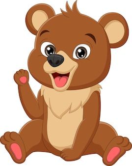 Cartoon funny baby bear sitting illustration