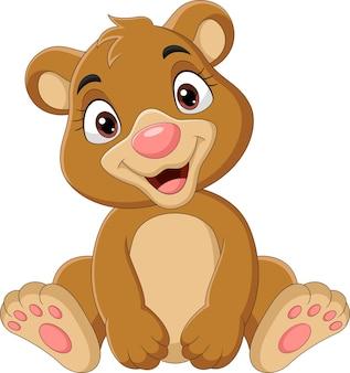 만화 재미있는 아기 곰 앉아