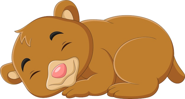 Мультяшный смешной медвежонок спит