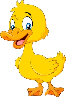 Cartoon funny baby duck posing