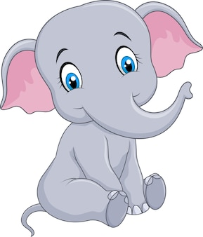 Cartoon funny baby elephant