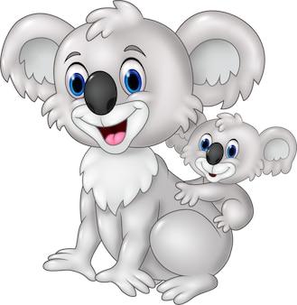 Cartoon funny baby koala on mother's back