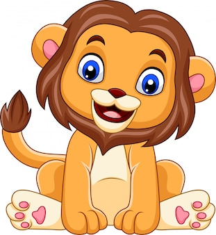 Cartoon funny baby lion