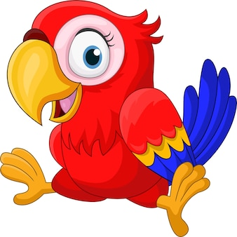 Cartoon funny baby macaw on white