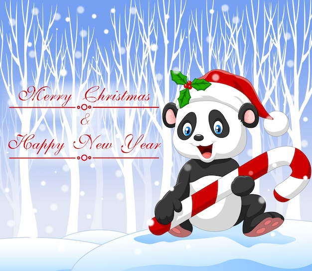Cartoon funny baby panda holding christmas candy