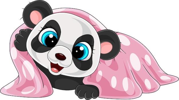 Мультяшная забавная панда в розовом одеяле