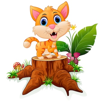 Cartoon funny baby tiger posing on tree stump