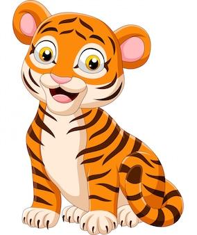 Cartoon funny baby tiger sitting