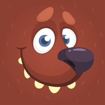 Cartoon funny bear face illustration