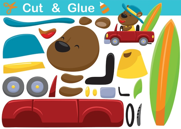 Cartoon of funny bear wearing hat on car carrying surfboard. education paper game for children. cutout and gluing