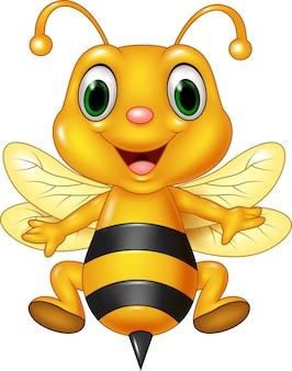 Cartoon funny bee flying