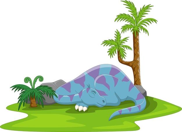 Cartoon funny blue dinosaur sleeping