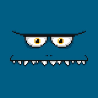 Cartoon funny blue monster face