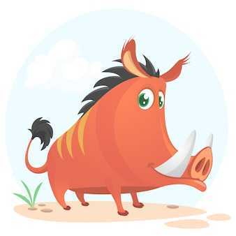 Cartoon funny boar illustration