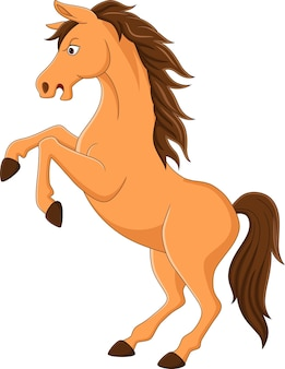 Cartoon funny brown horse standing