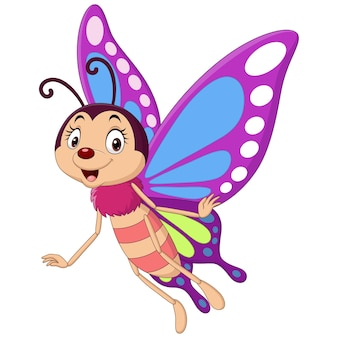 Мультяшная смешная бабочка, летящая на белом фоне