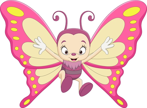 Cartoon funny butterfly on white