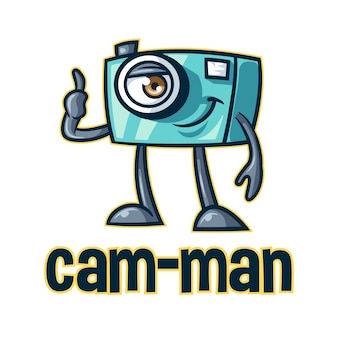 Cartoon funny camera character mascot logo