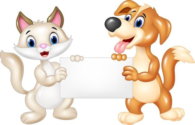 漫画面白い猫と犬の空白のサイン