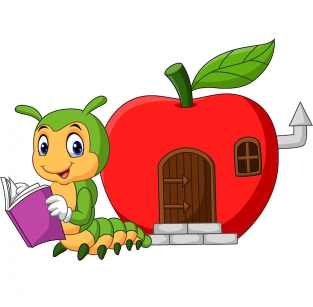 Cartoon funny caterpillar reading book