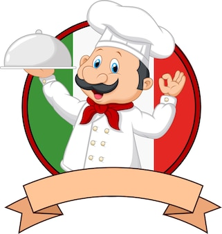 Cartoon funny chef cartoon holding platter