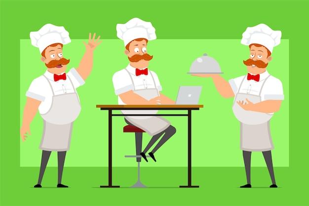 Мультяшный смешной шеф-повар мужчина персонаж в белой форме и шляпе пекаря