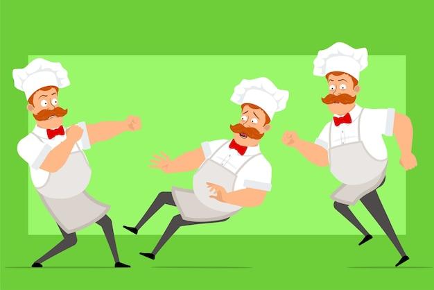 흰색 유니폼과 베이커 모자에 만화 재미 요리사 요리사 남자 캐릭터