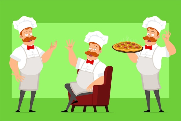 Cartoon funny chef cook man character in white uniform and baker hat