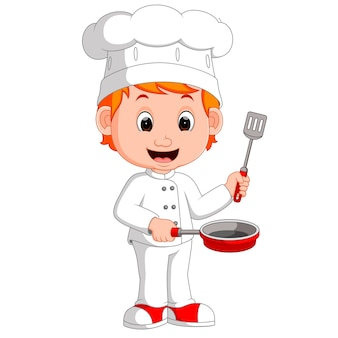 Cartoon funny chef holding frying pan