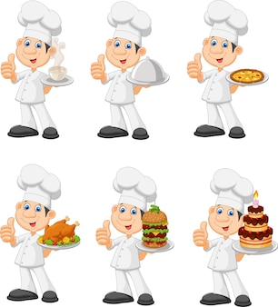 Cartoon funny chef holding a silver platter collection set