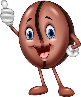 Мультфильм смешной Кофейный боб с большим пальцем вверх