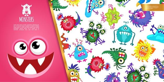 Composizione di mostri colorati divertenti del fumetto con creature carine e illustrazione di faccia di mostro gioioso