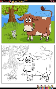 Cartoon funny cow on pasture coloring book page