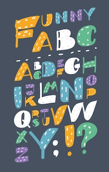 Cartoon funny, cute, font type set in different colors.