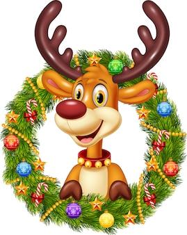 Cartoon funny deer holding christmas wreath