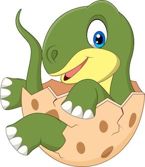 Cartoon funny dinosaur hatching