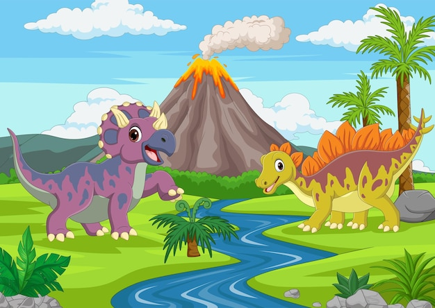 Cartoon funny dinosaurs in the jungle
